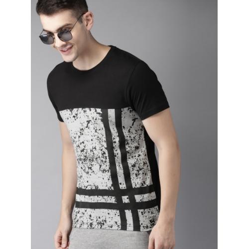 HERE&NOW Men Black & Grey Melange Colourblocked Round Neck T-shirt