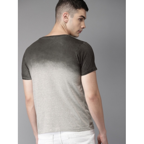 HERE&NOW Men Grey Dyed Round Neck T-shirt