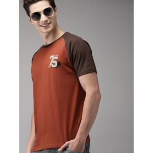 HERE&NOW Men Rust Orange Solid Round Neck T-shirt