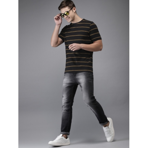 HERE&NOW Black & Yellow Striped Round Neck T-shirt