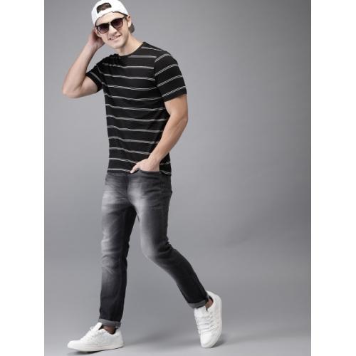 HERE&NOW Black & White Striped Round Neck T-shirt