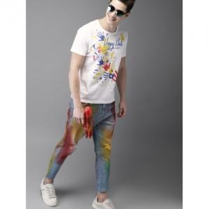HERE&NOW White Cotton Printed Holi T-shirt