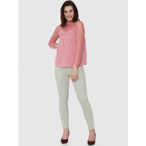 Vero Moda Women Pink Solid Top