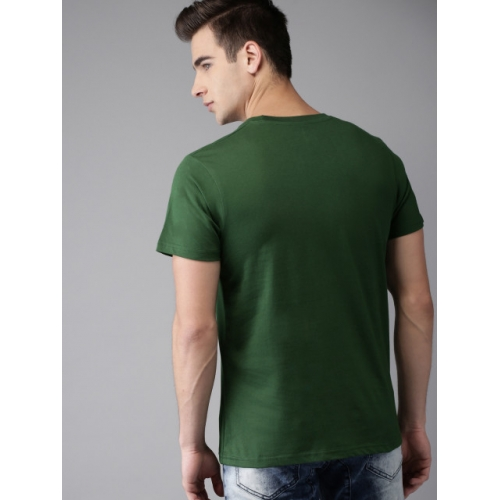 HERE&NOW Men Green Printed Round Neck T-shirt