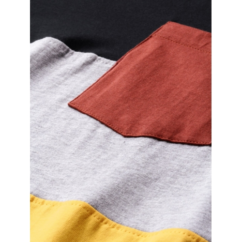 HERE&NOW Black & Yellow Colourblocked Round Neck T-shirt