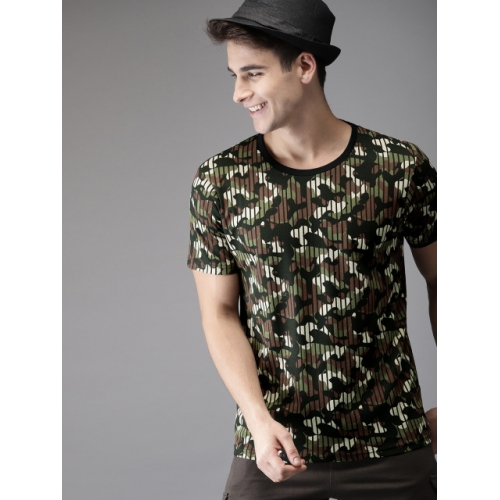 HERE&NOW Men Olive Green & Black Camouflage Printed Round Neck T-shirt