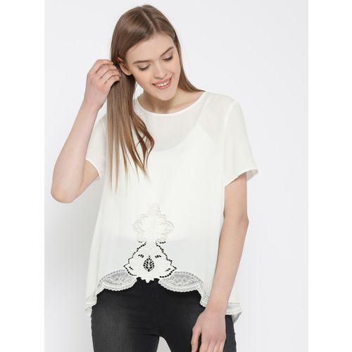 FOREVER 21 Women White Crochet Detail Semi-Sheer Top