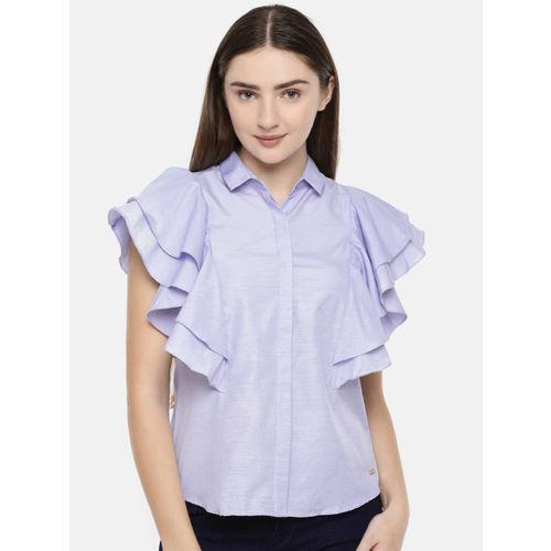 Park Avenue Women Blue Solid Shirt Style Top