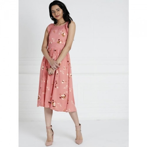 all about you Women Pink Printed Fit and Flare Dress