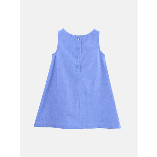 Beebay Girls Blue Self Design A-Line Dress