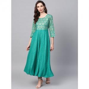 65c8db9f8 Buy AKS Women Navy Blue & Green Ombre Dyed Anarkali Kurta online ...