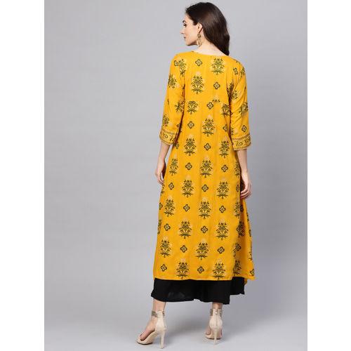 SOJANYA Women Mustard Yellow & Green Printed A-Line Kurta