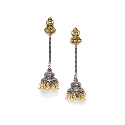 DIVA WALK Gold-Toned & Silver-Toned Dome Shaped Jhumkas