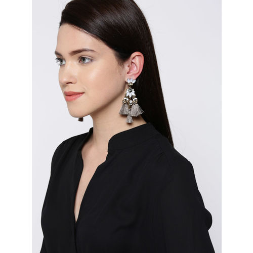 Bellofox Off-White & Grey Gold-Plated Tasselled Contemporary Drop Earrings