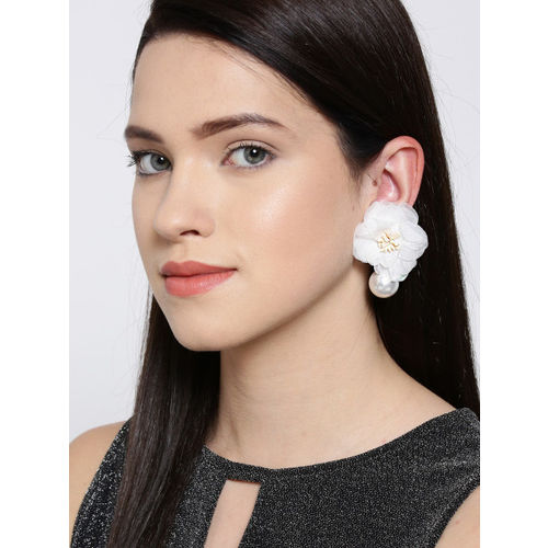 Bellofox White Gold-Plated Beaded Floral Drop Earrings