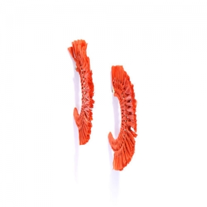 Blueberry Orange Gold-Plated Crescent Shaped Half Hoop Earrings
