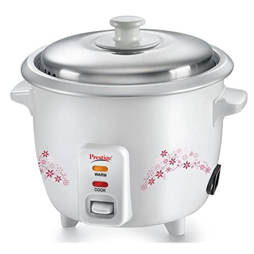 Prestige PRWO 1.5 500-Watt Delight Electric Rice Cooker with Steaming Feature (White)