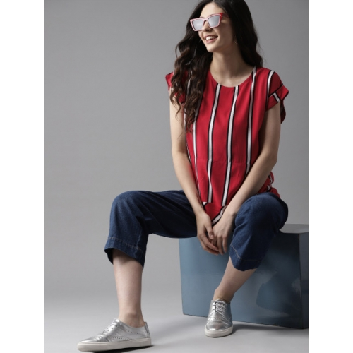 HERE&NOW Women Red & White Striped Top