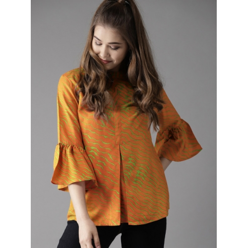 HERE&NOW Women Orange Printed A-Line Top
