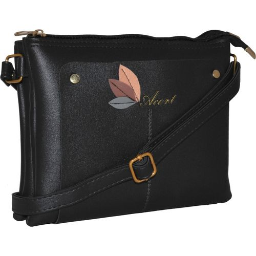Acort Women Casual Black Leatherette Sling Bag