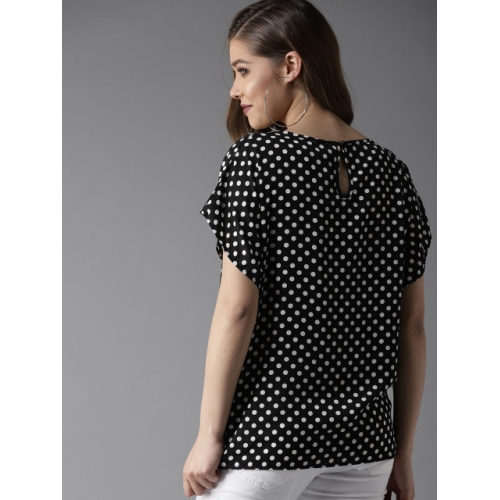 HERE&NOW Women Black & White Polka Dot Print Top
