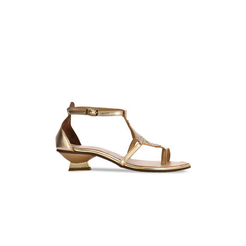 Eske Women Gold-Toned Textured Leather Heels