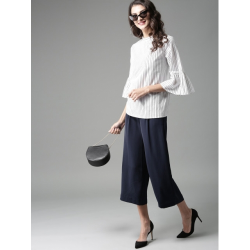 HERE&NOW Women White & Black Striped Top