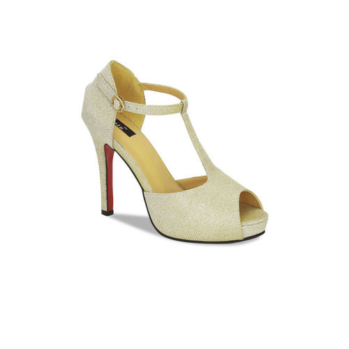 Kielz Women Gold-Toned Solid Peep Toes