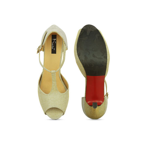 Kielz Women Gold-Toned Solid Peep Toes