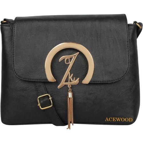 MUSRAT Women Casual Black PU Sling Bag