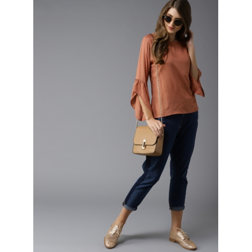 HERE&NOW Peach-Coloured Solid Top