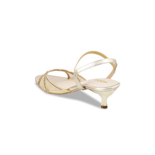 Mochi Women Gold-Toned Solid Sandals