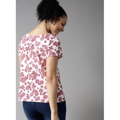 HERE&NOW White & Pink Printed Top