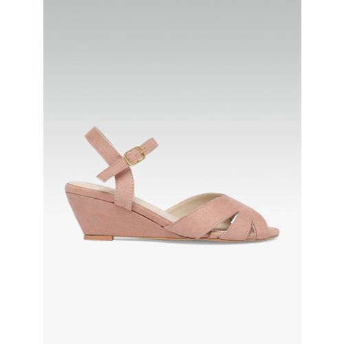 Carlton London Women Pink Solid Sandals