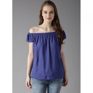 HERE&NOW Blue Solid Bardot Top