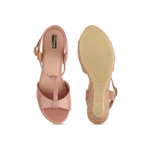 Shoetopia Women Peach-Coloured Solid Heels