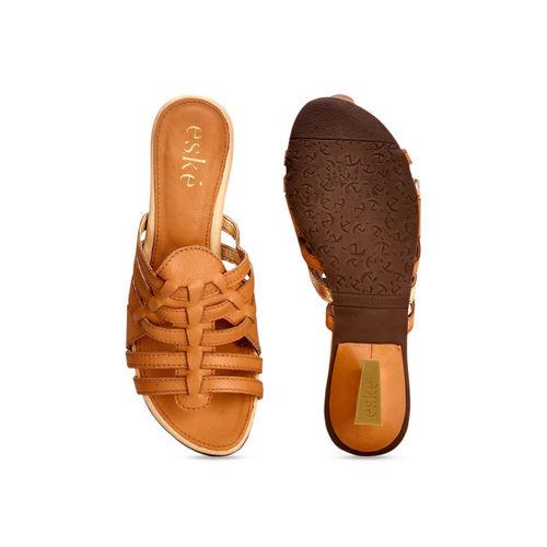 Eske Women Brown Solid Leather Sandals