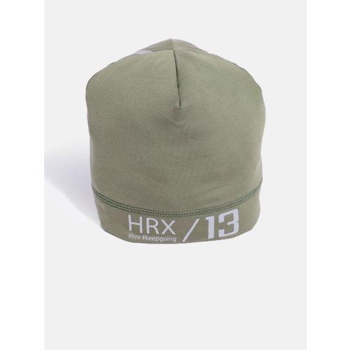 HRX by Hrithik Roshan Unisex Olive Green Solid Beanie