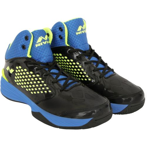 Nivia Warrior -1 Basketball Shoes For Men(Black, Green, Blue)