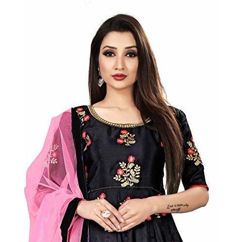 Visena Fab Women's Taffeta Silk Semi Stitched Anarkali Gown (Black)