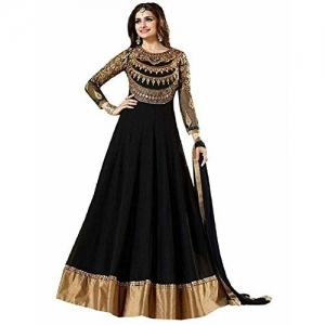 ef485d75d7 Luxury World Women's Black Color Heavy Embroidered Work Bridal Anarkali Gown  With Diamond Work(Free