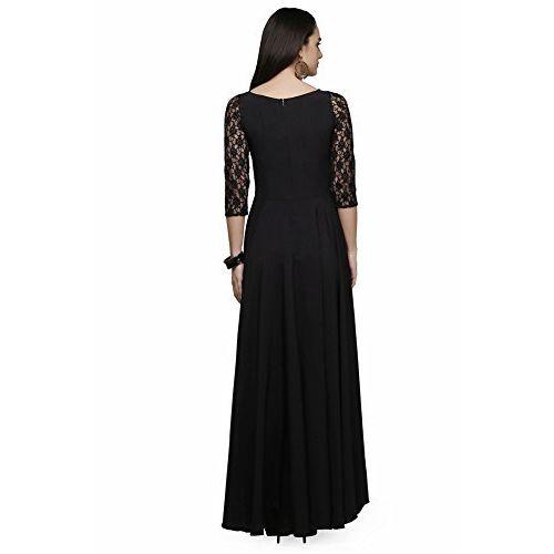 Lenira Creation Crepe Silk One Piece Gown (Black)