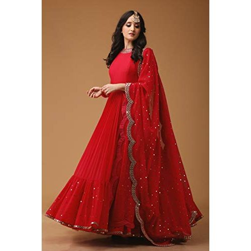 Nena Fashion Women's Georgette Heavy Embroidered Semi Stitched Anarkali Style Gown for Girl