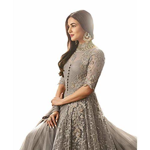 RUDRAPRAYAG Grey net and santoon  Anarkali Gown