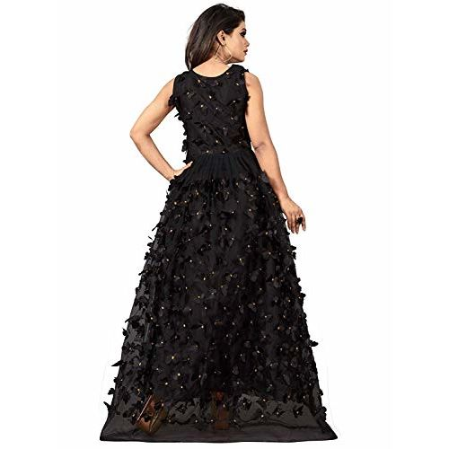 Varudi Fashion Women's Net Embroidered Butterfly Gown