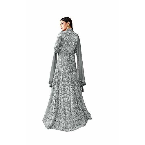 CAPRITREND Grey net anarkali gown