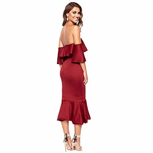 Jbmjs Dress for Women Women Dress Sleeveless Ruffle Evening Dresses Sexy Tight Midi Dress, Cocktail, Party