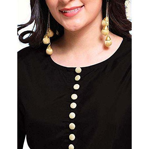 Lenira Creation Women's Taffeta Silk Semi-stitched Anarkali Gown (Black, Free Size)