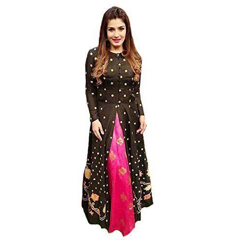 Shree Kuldevi Creation Women's Heavy Bangalori Silk Semi-Stitched Gown (G>Ravina, Black, Free Size)