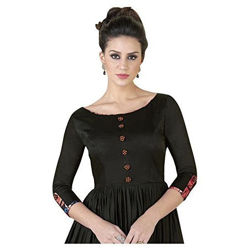 Shree Kuldevi Creation Women's Crepe Full Stitched Gown (Black, Free Size)